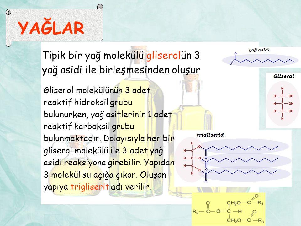 YAĞLAR Tipik bir yağ molekülü gliserolün 3 yağ asidi ile birleşmesinden oluşur Gliserol molekülünün 3 adet reaktif hidroksil grubu bulunurken, yağ asitlerinin 1 adet reaktif karboksil grubu bulunmaktadır.