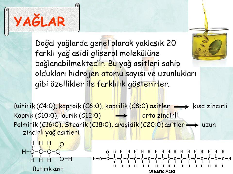 YAĞLAR Doğal yağlarda genel olarak yaklaşık 20 farklı yağ asidi gliserol molekülüne bağlanabilmektedir.