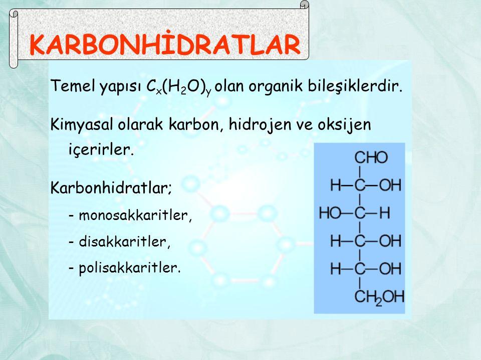 KARBONHİDRATLAR Temel yapısı C x (H 2 O) y olan organik bileşiklerdir. Kimyasal olarak karbon, hidrojen ve oksijen içerirler. Karbonhidratlar; - monos