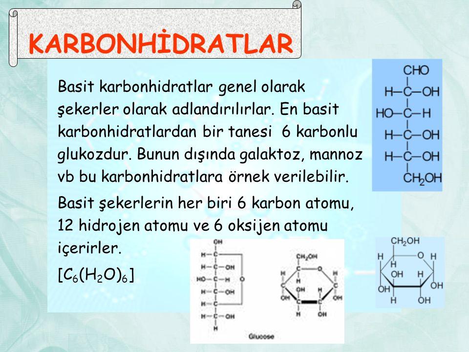 KARBONHİDRATLAR Basit karbonhidratlar genel olarak şekerler olarak adlandırılırlar. En basit karbonhidratlardan bir tanesi 6 karbonlu glukozdur. Bunun