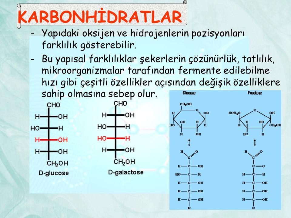 KARBONHİDRATLAR -Yapıdaki oksijen ve hidrojenlerin pozisyonları farklılık gösterebilir. -Bu yapısal farklılıklar şekerlerin çözünürlük, tatlılık, mikr