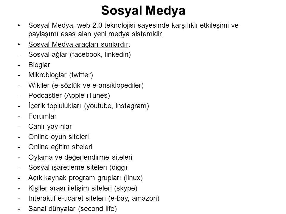 Sosyal Medya Sosyal Medya, web 2.0 teknolojisi sayesinde karşılıklı etkileşimi ve paylaşımı esas alan yeni medya sistemidir. Sosyal Medya araçları şun