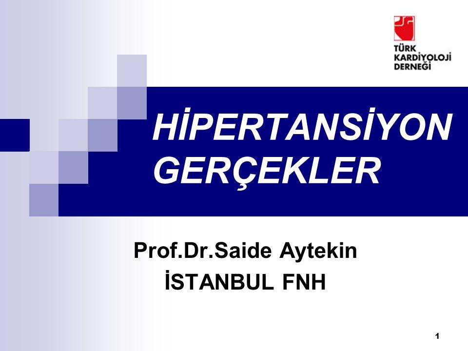 1 HİPERTANSİYON GERÇEKLER Prof.Dr.Saide Aytekin İSTANBUL FNH