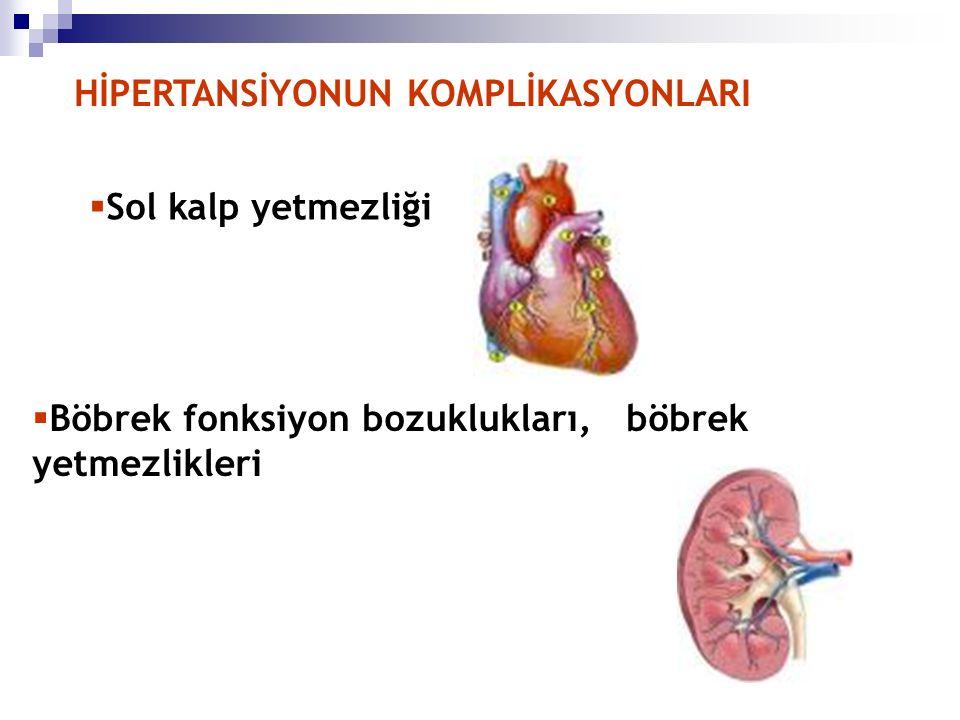 HİPERTANSİYONUN KOMPLİKASYONLARI  Sol kalp yetmezliği  Böbrek fonksiyon bozuklukları, böbrek yetmezlikleri