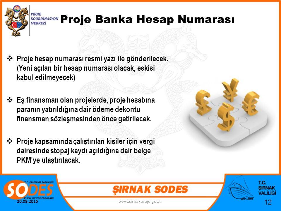 Proje Banka Hesap Numarası  Proje hesap numarası resmi yazı ile gönderilecek. (Yeni açılan bir hesap numarası olacak, eskisi kabul edilmeyecek)  Eş