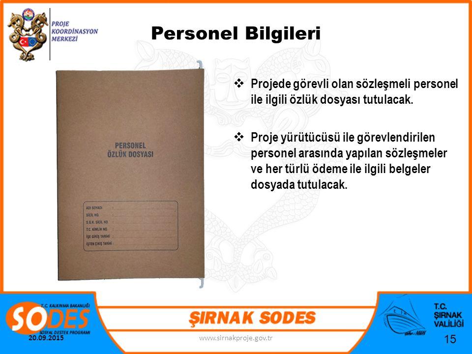 Personel Bilgileri  Projede görevli olan sözleşmeli personel ile ilgili özlük dosyası tutulacak.  Proje yürütücüsü ile görevlendirilen personel aras