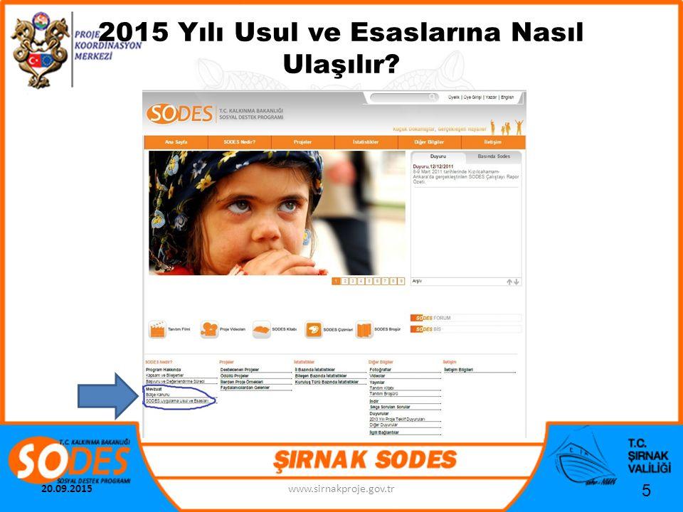 2015 Yılı Usul ve Esaslarına Nasıl Ulaşılır? 5 20.09.2015www.sirnakproje.gov.tr