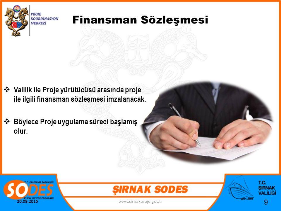 Finansman Sözleşmesi 9  Valilik ile Proje yürütücüsü arasında proje ile ilgili finansman sözleşmesi imzalanacak.  Böylece Proje uygulama süreci başl