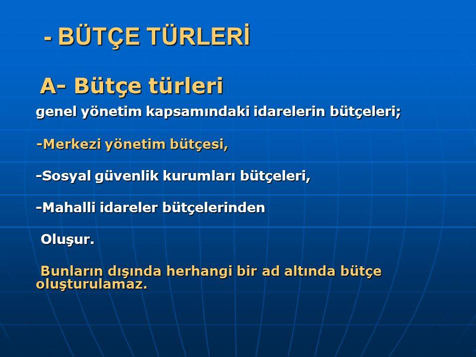 - BÜTÇE TÜRLERİ - BÜTÇE TÜRLERİ A- Bütçe türleri A- Bütçe türleri genel yönetim kapsamındaki idarelerin bütçeleri; -Merkezi yönetim bütçesi, -Merkezi