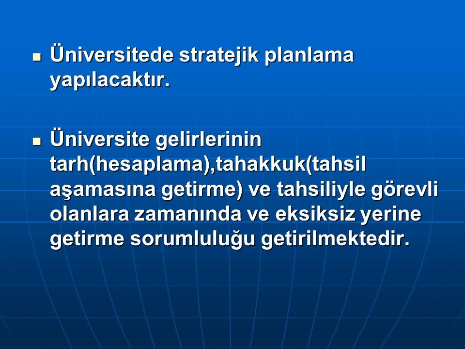 Üniversitede stratejik planlama yapılacaktır. Üniversitede stratejik planlama yapılacaktır. Üniversite gelirlerinin tarh(hesaplama),tahakkuk(tahsil aş