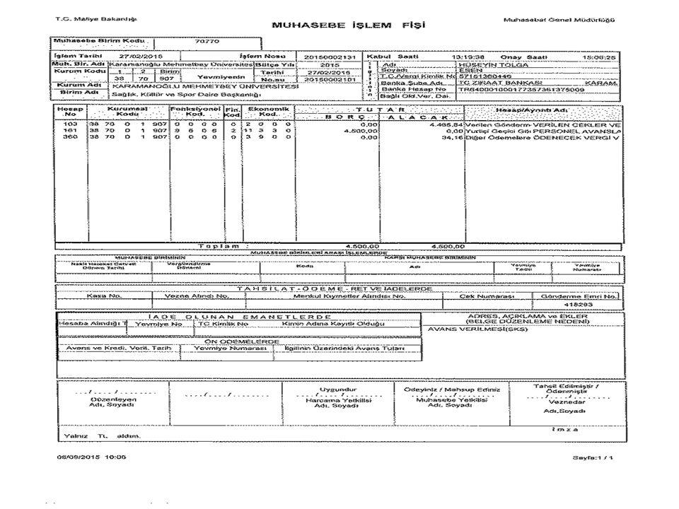 5018 Sayılı Kamu Mali Yönetimi ve Kontrol Kanunu Madde 33:  Gerçekleştirme görevlileri, harcama talimatı üzerine; işin yaptırılması, mal veya hizmetin alınması, teslim almaya ilişkin işlemlerin yapılması, belgelendirilmesi ve ödeme için gerekli belgelerin hazırlanması görevlerini yürütürler.