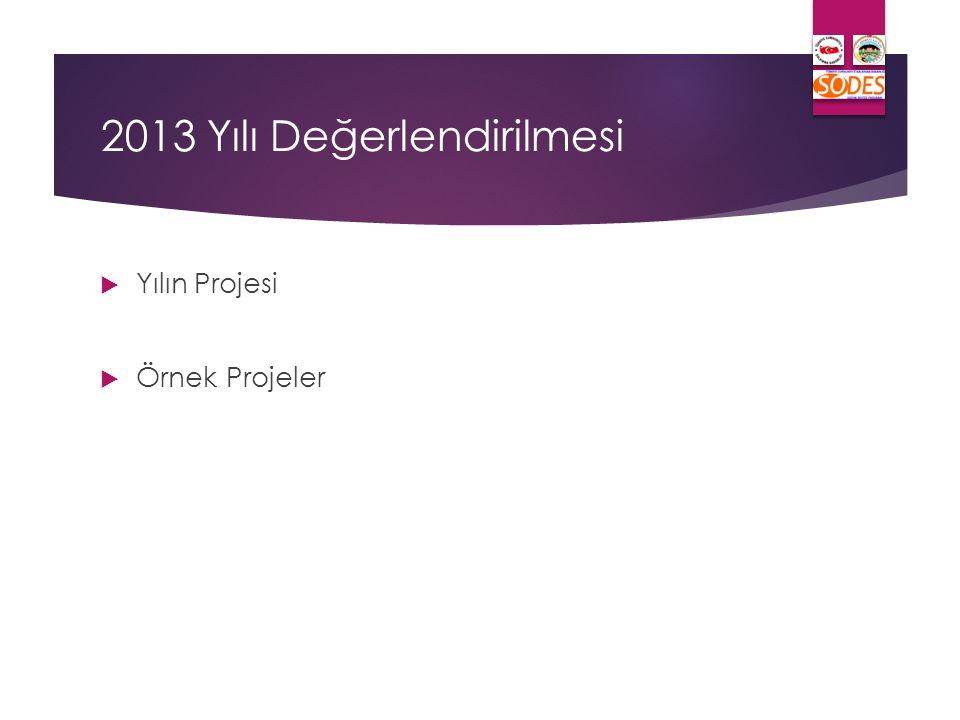 2013 Yılı Değerlendirilmesi  Yılın Projesi  Örnek Projeler