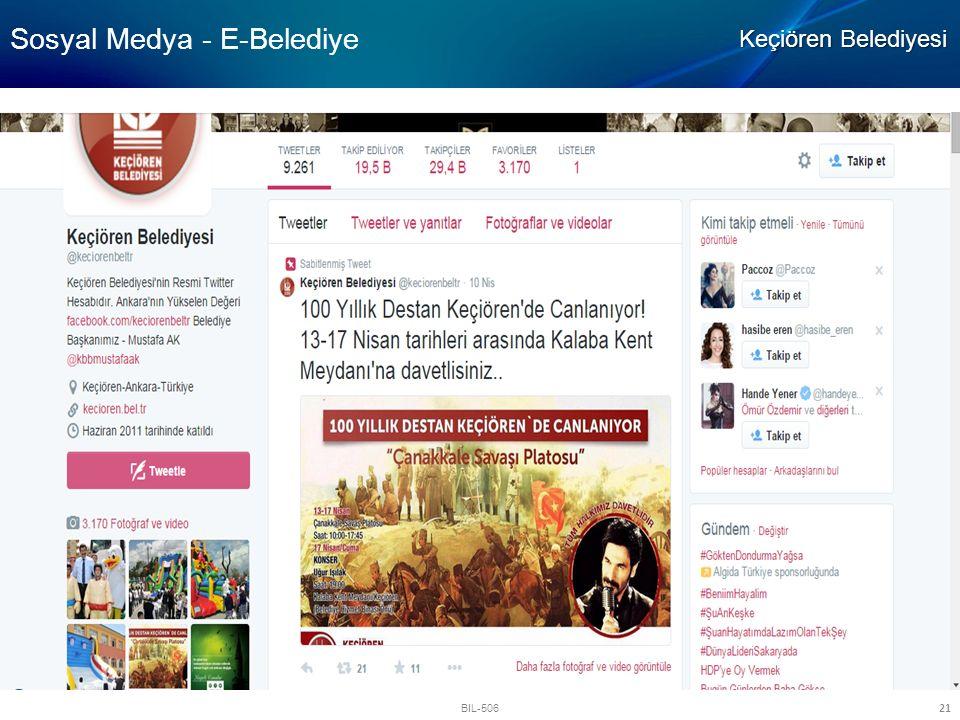 BIL-506 21 Sosyal Medya - E-Belediye Keçiören Belediyesi