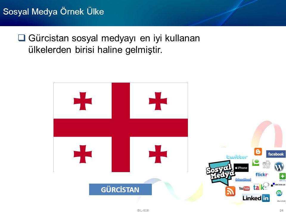 BIL-506 24 Sosyal Medya Örnek Ülke  Gürcistan sosyal medyayı en iyi kullanan ülkelerden birisi haline gelmiştir. GÜRCİSTAN