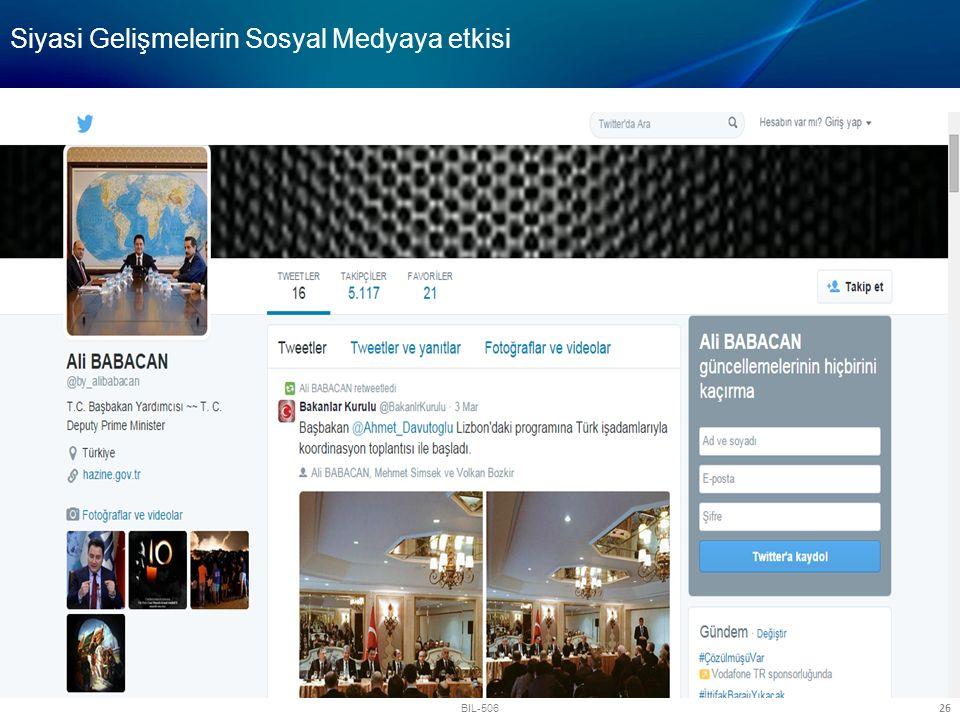 BIL-506 26 Siyasi Gelişmelerin Sosyal Medyaya etkisi
