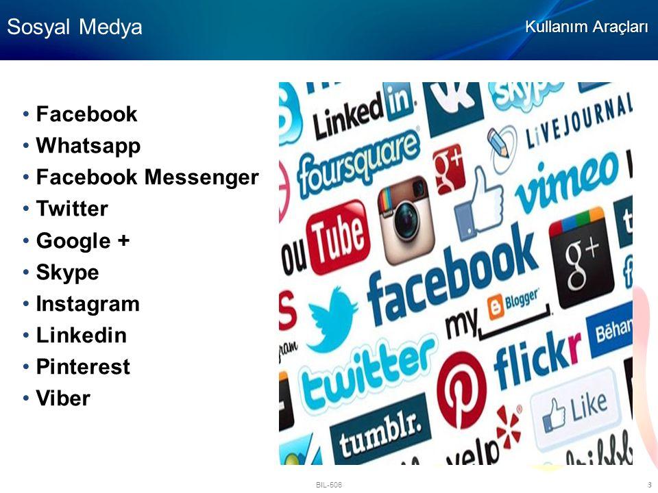 BIL-506 3 Sosyal Medya Kullanım Araçları Facebook Whatsapp Facebook Messenger Twitter Google + Skype Instagram Linkedin Pinterest Viber