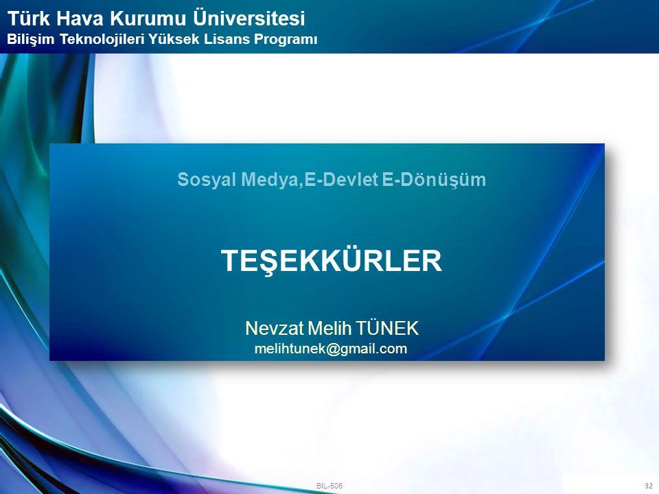 32 BIL-506 Türk Hava Kurumu Üniversitesi Bilişim Teknolojileri Yüksek Lisans Programı Sosyal Medya,E-Devlet E-Dönüşüm TEŞEKKÜRLER Nevzat Melih TÜNEK m