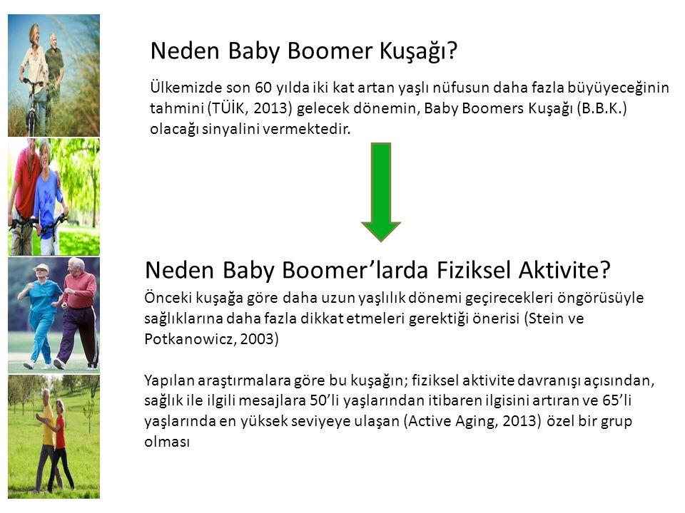 Neden Baby Boomer Kuşağı? Ülkemizde son 60 yılda iki kat artan yaşlı nüfusun daha fazla büyüyeceğinin tahmini (TÜİK, 2013) gelecek dönemin, Baby Boome