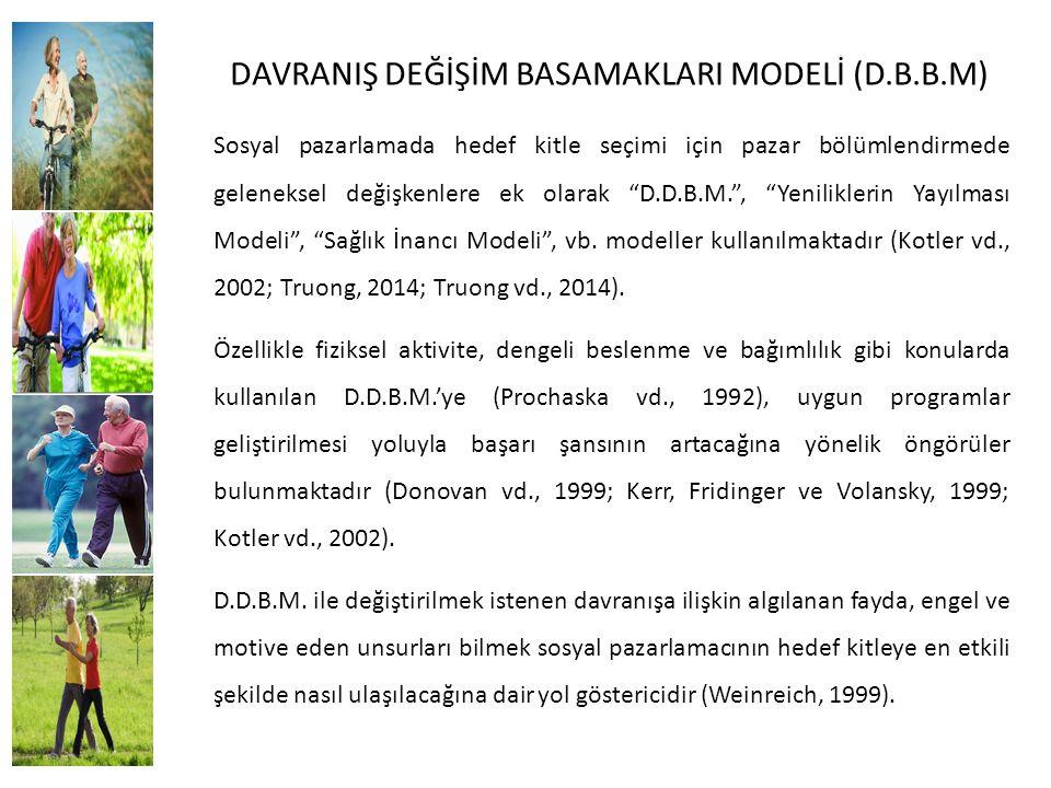 """DAVRANIŞ DEĞİŞİM BASAMAKLARI MODELİ (D.B.B.M) Sosyal pazarlamada hedef kitle seçimi için pazar bölümlendirmede geleneksel değişkenlere ek olarak """"D.D."""