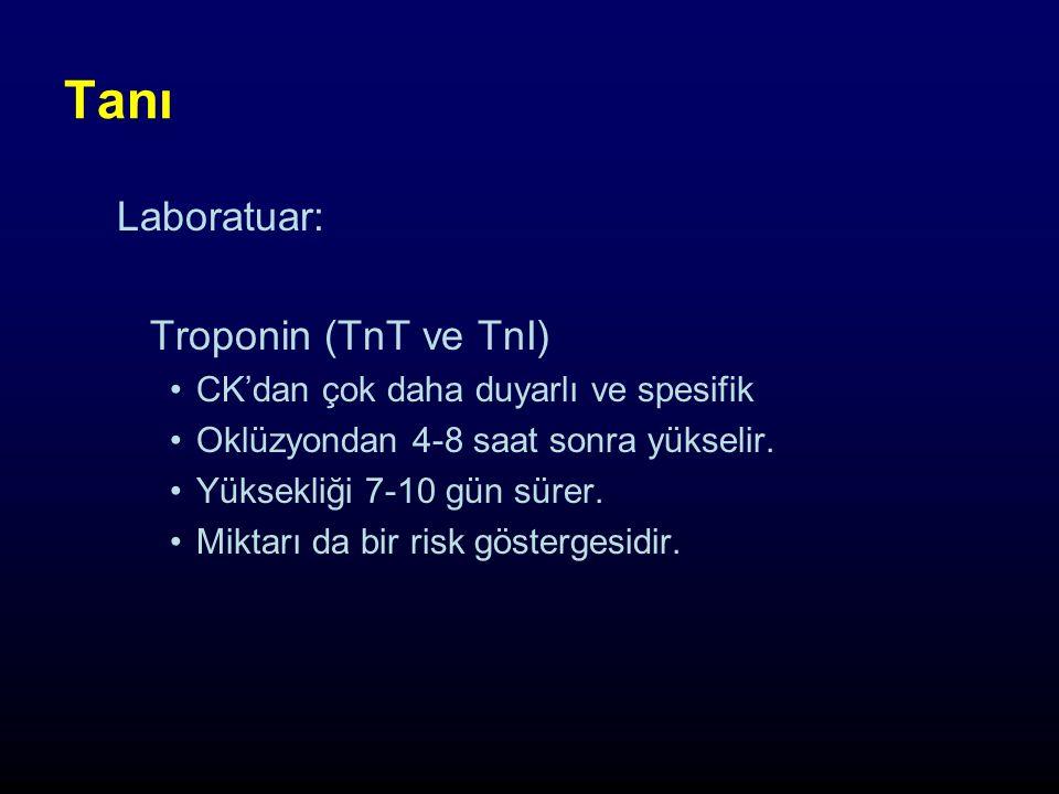 Tanı Laboratuar: Troponin (TnT ve TnI) CK'dan çok daha duyarlı ve spesifik Oklüzyondan 4-8 saat sonra yükselir.