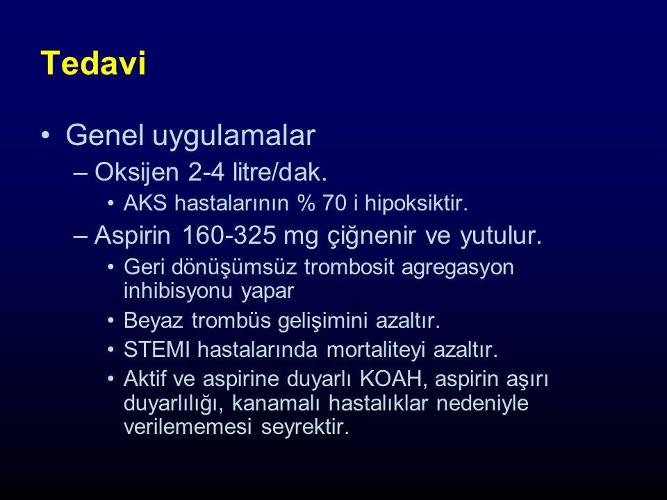 Tedavi Genel uygulamalar –Oksijen 2-4 litre/dak.AKS hastalarının % 70 i hipoksiktir.