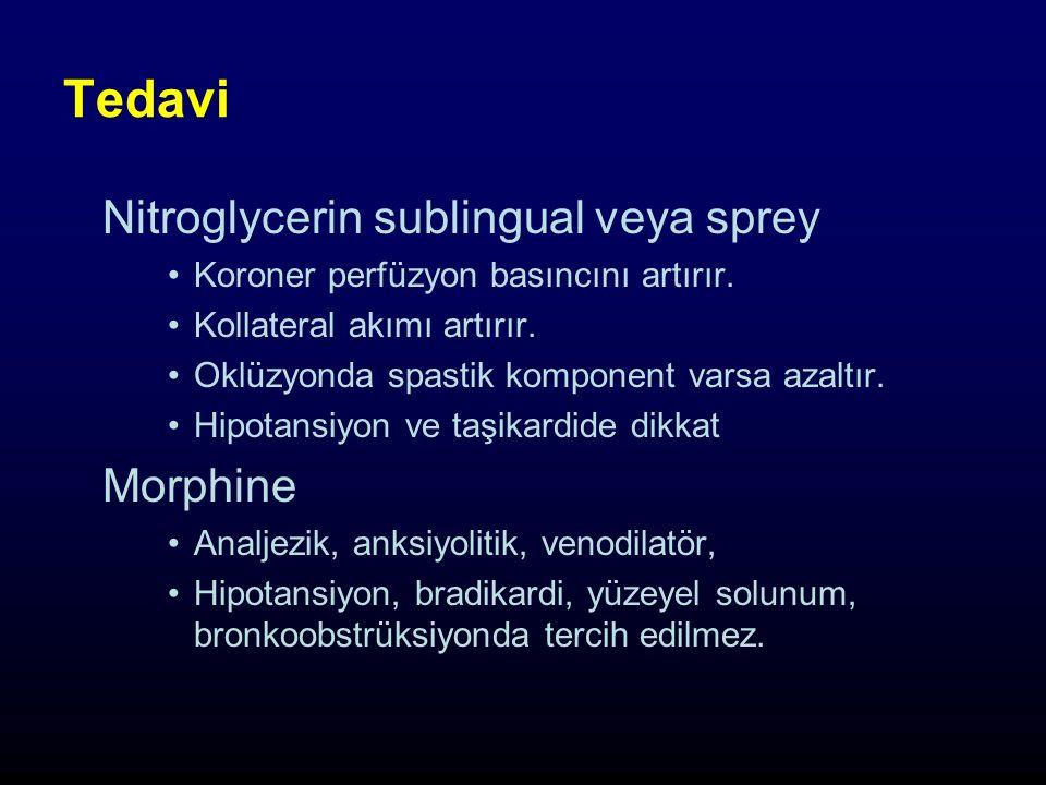 Tedavi Nitroglycerin sublingual veya sprey Koroner perfüzyon basıncını artırır.