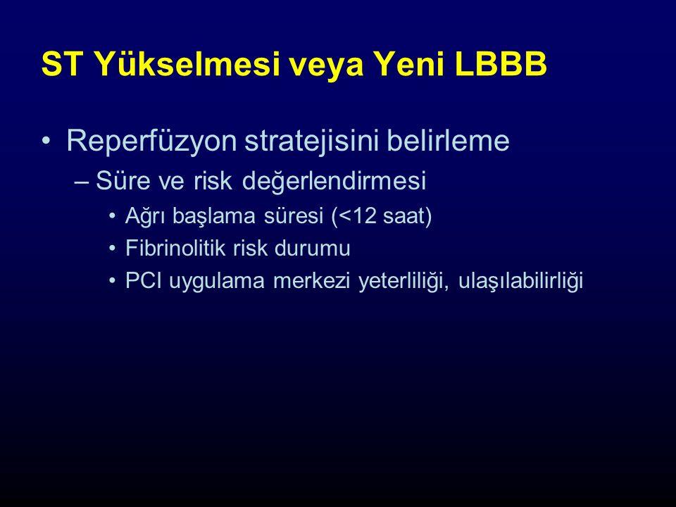 ST Yükselmesi veya Yeni LBBB Reperfüzyon stratejisini belirleme –Süre ve risk değerlendirmesi Ağrı başlama süresi (<12 saat) Fibrinolitik risk durumu PCI uygulama merkezi yeterliliği, ulaşılabilirliği
