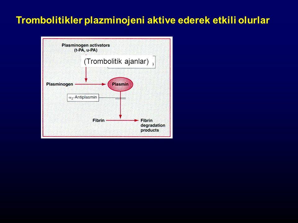 (Trombolitik ajanlar) Trombolitikler plazminojeni aktive ederek etkili olurlar
