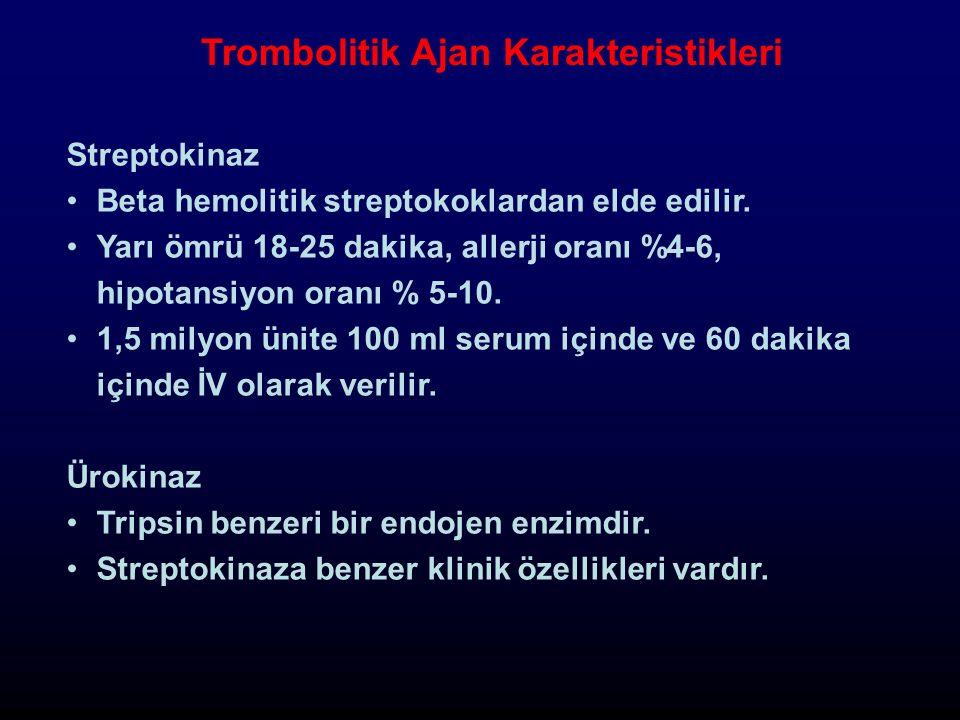 Trombolitik Ajan Karakteristikleri Streptokinaz Beta hemolitik streptokoklardan elde edilir.