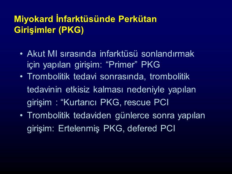 Miyokard İnfarktüsünde Perkütan Girişimler (PKG) Akut MI sırasında infarktüsü sonlandırmak için yapılan girişim: Primer PKG Trombolitik tedavi sonrasında, trombolitik tedavinin etkisiz kalması nedeniyle yapılan girişim : Kurtarıcı PKG, rescue PCI Trombolitik tedaviden günlerce sonra yapılan girişim: Ertelenmiş PKG, defered PCI