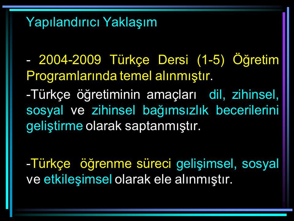 Türkçe Öğretim Yaklaşımları Ülkemizde uzun yıllar davranışçı yaklaşım uygulanmıştır.1981 Türkçe Öğretim Programında: -Öğretilecek davranışlar sıralanm