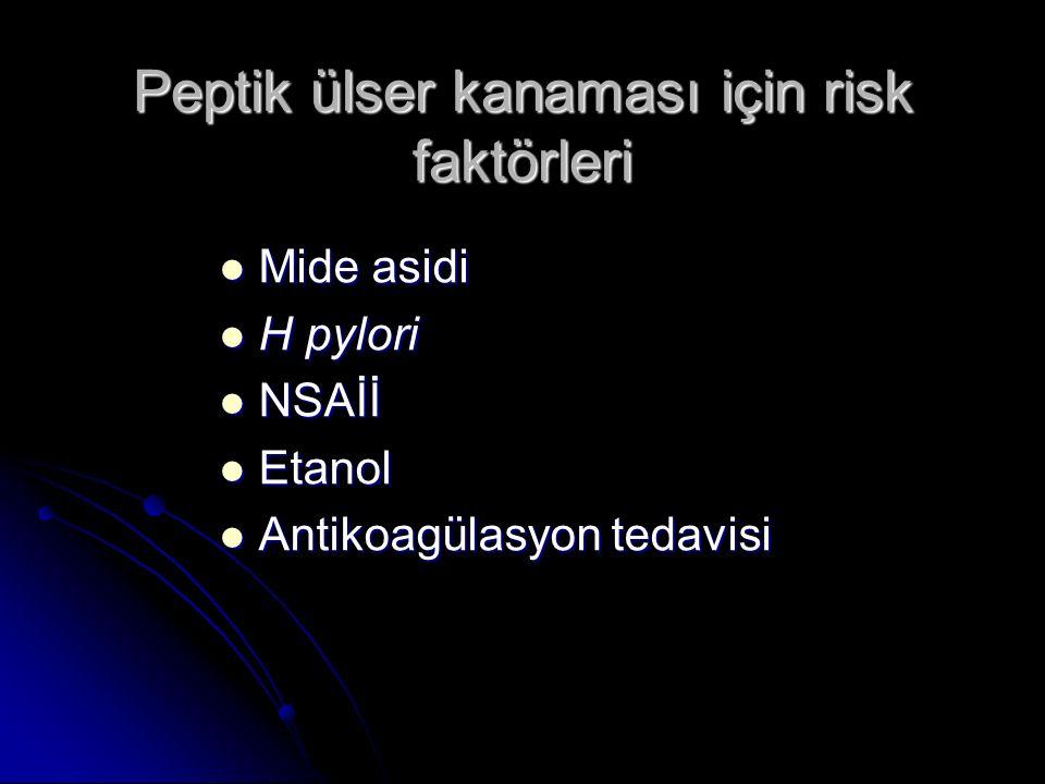 Peptik ülser kanaması için risk faktörleri Mide asidi Mide asidi H pylori H pylori NSAİİ NSAİİ Etanol Etanol Antikoagülasyon tedavisi Antikoagülasyon