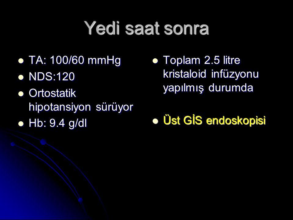 Yedi saat sonra TA: 100/60 mmHg TA: 100/60 mmHg NDS:120 NDS:120 Ortostatik hipotansiyon sürüyor Ortostatik hipotansiyon sürüyor Hb: 9.4 g/dl Hb: 9.4 g