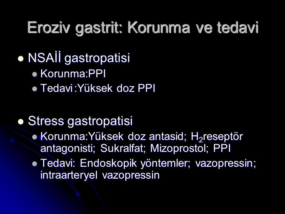 Eroziv gastrit: Korunma ve tedavi NSAİİ gastropatisi NSAİİ gastropatisi Korunma:PPI Korunma:PPI Tedavi:Yüksek doz PPI Tedavi:Yüksek doz PPI Stress gas