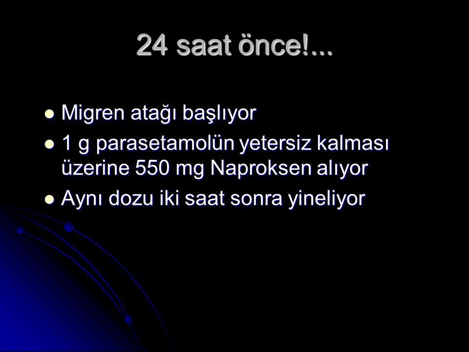 24 saat önce!... Migren atağı başlıyor Migren atağı başlıyor 1 g parasetamolün yetersiz kalması üzerine 550 mg Naproksen alıyor 1 g parasetamolün yete