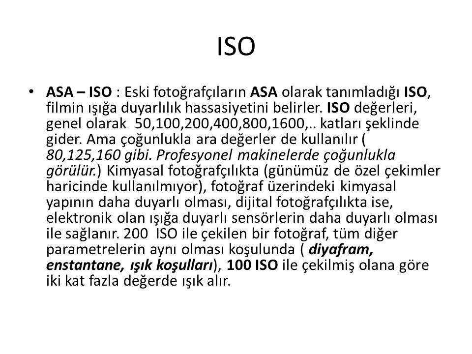 ISO ASA – ISO : Eski fotoğrafçıların ASA olarak tanımladığı ISO, filmin ışığa duyarlılık hassasiyetini belirler.