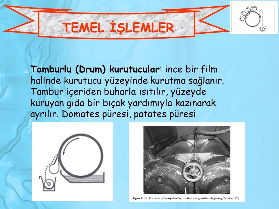 Tamburlu (Drum) kurutucular: ince bir film halinde kurutucu yüzeyinde kurutma sağlanır. Tambur içeriden buharla ısıtılır, yüzeyde kuruyan gıda bir bıç