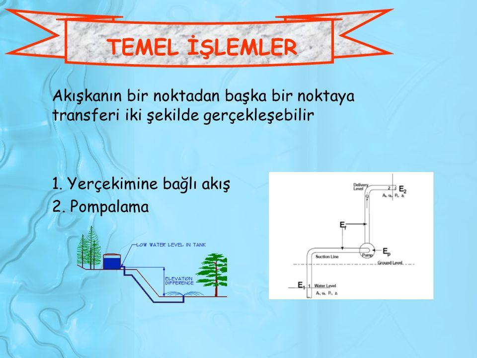 Akışkanın bir noktadan başka bir noktaya transferi iki şekilde gerçekleşebilir 1. Yerçekimine bağlı akış 2. Pompalama TEMEL İŞLEMLER