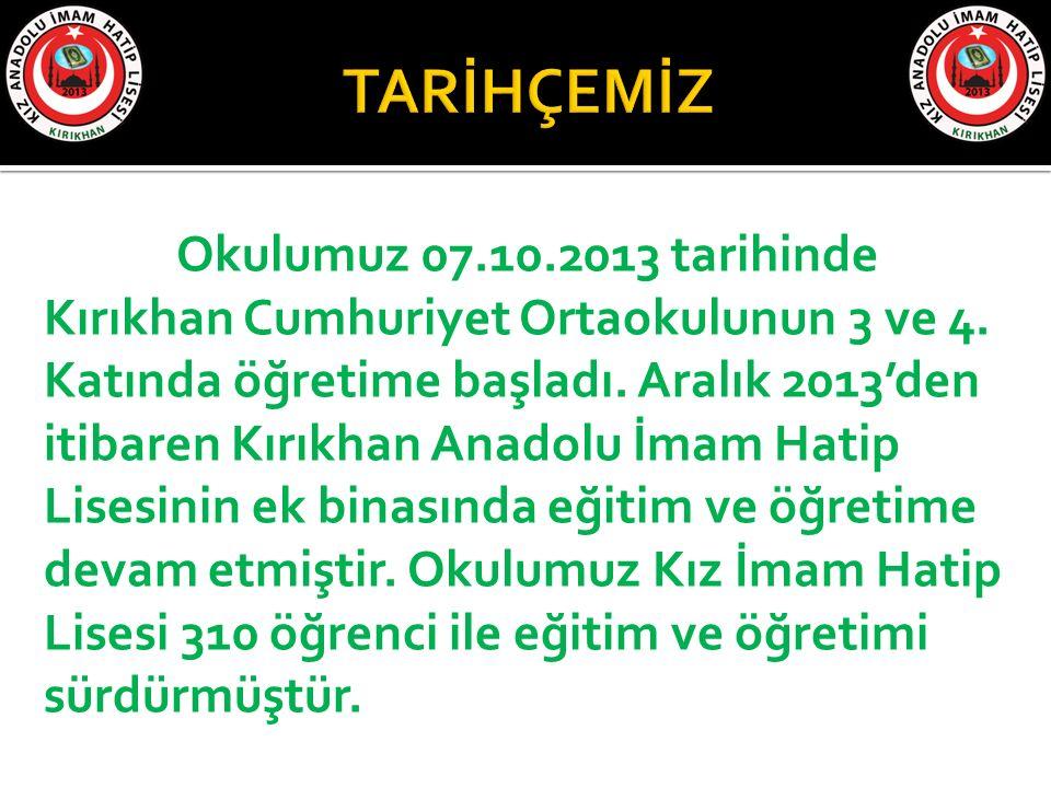 Okulumuz 07.10.2013 tarihinde Kırıkhan Cumhuriyet Ortaokulunun 3 ve 4. Katında öğretime başladı. Aralık 2013'den itibaren Kırıkhan Anadolu İmam Hatip