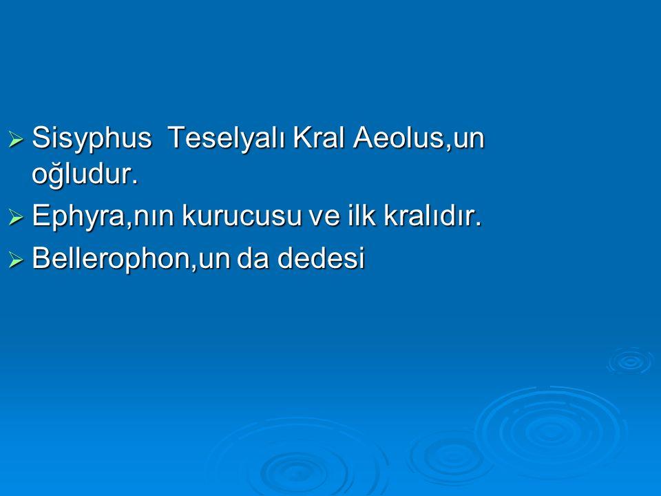  Sisyphus Teselyalı Kral Aeolus,un oğludur.  Ephyra,nın kurucusu ve ilk kralıdır.  Bellerophon,un da dedesi