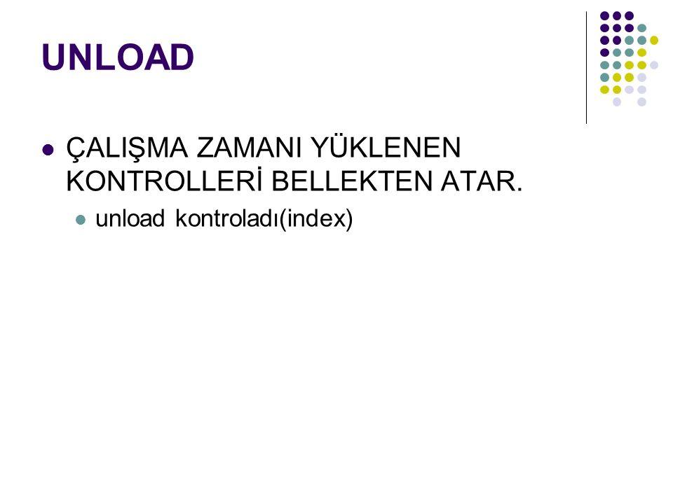 UNLOAD ÇALIŞMA ZAMANI YÜKLENEN KONTROLLERİ BELLEKTEN ATAR. unload kontroladı(index)