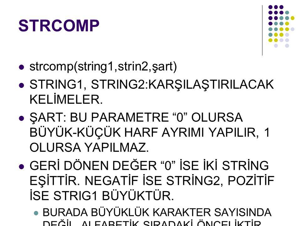 STRCOMP strcomp(string1,strin2,şart) STRING1, STRING2:KARŞILAŞTIRILACAK KELİMELER.