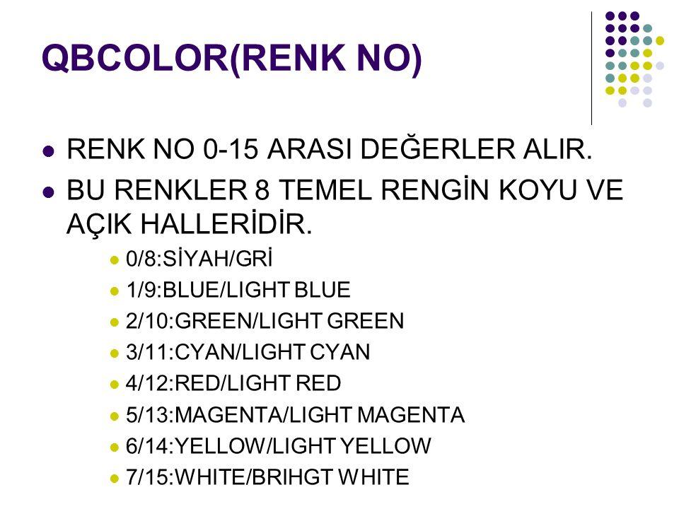 QBCOLOR(RENK NO) RENK NO 0-15 ARASI DEĞERLER ALIR.