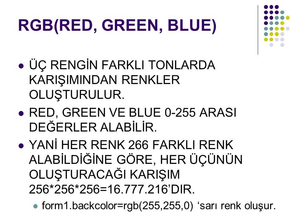 RGB(RED, GREEN, BLUE) ÜÇ RENGİN FARKLI TONLARDA KARIŞIMINDAN RENKLER OLUŞTURULUR.