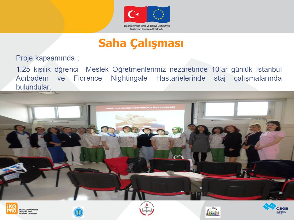 Proje kapsamında ; 1.25 kişilik öğrenci Meslek Öğretmenlerimiz nezaretinde 10'ar günlük İstanbul Acıbadem ve Florence Nightingale Hastanelerinde staj