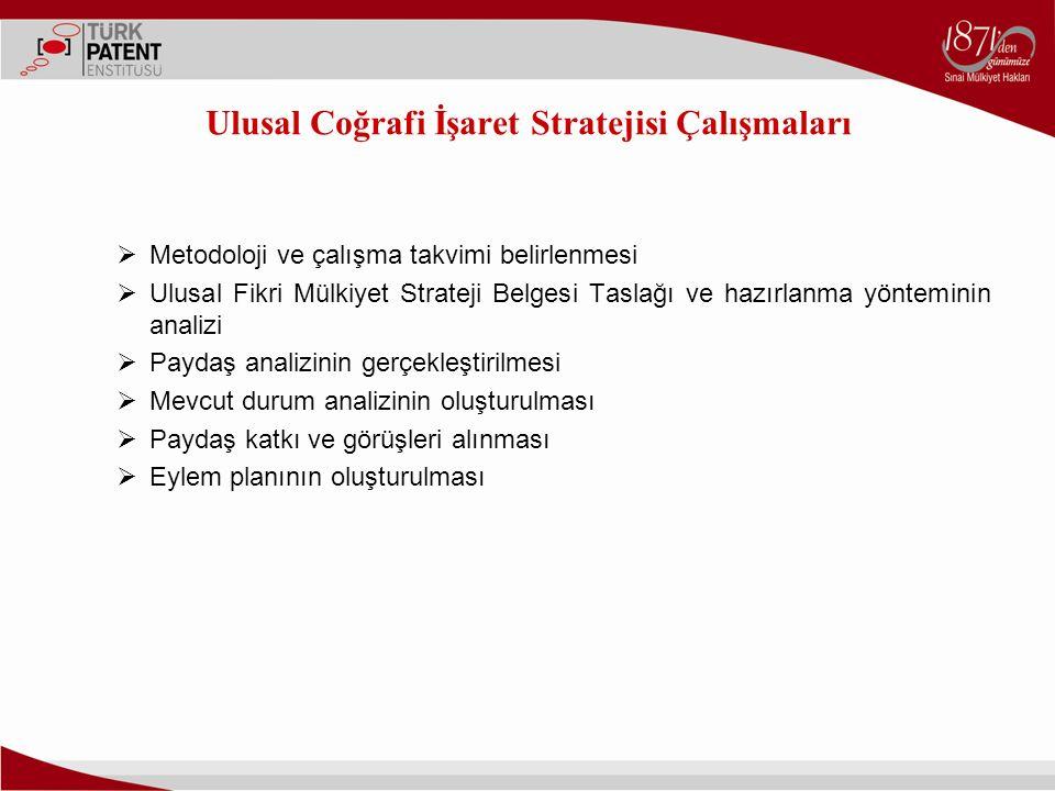 Ulusal Coğrafi İşaret Stratejisi Çalışmaları  Metodoloji ve çalışma takvimi belirlenmesi  Ulusal Fikri Mülkiyet Strateji Belgesi Taslağı ve hazırlan