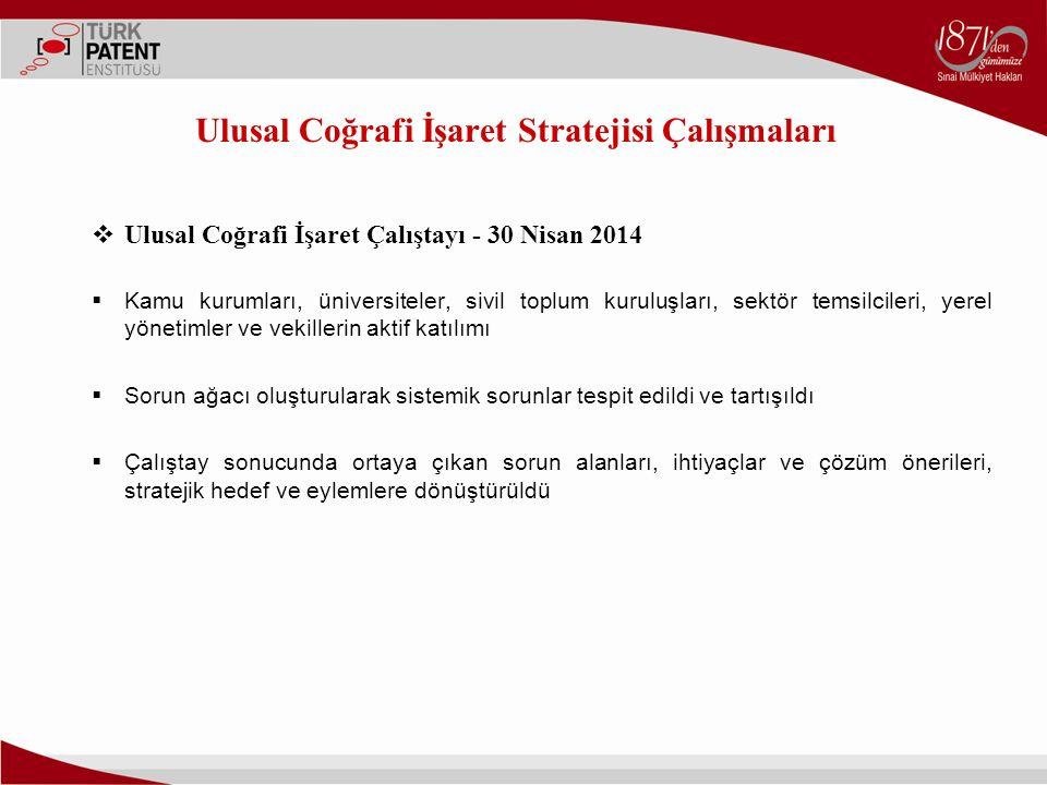 Ulusal Coğrafi İşaret Stratejisi Çalışmaları  Ulusal Coğrafi İşaret Çalıştayı - 30 Nisan 2014  Kamu kurumları, üniversiteler, sivil toplum kuruluşla