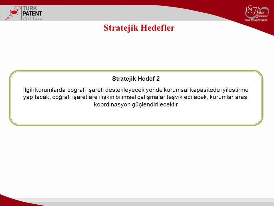 Stratejik Hedefler Stratejik Hedef 2 İlgili kurumlarda coğrafi işareti destekleyecek yönde kurumsal kapasitede iyileştirme yapılacak, coğrafi işaretle