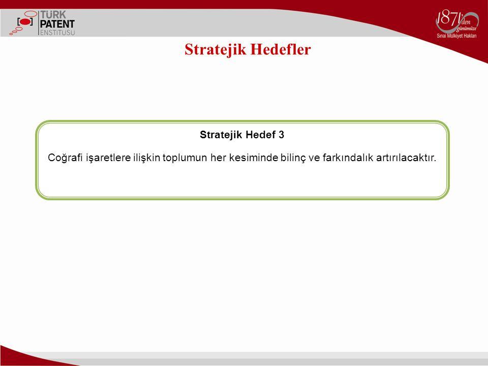 Stratejik Hedefler Stratejik Hedef 3 Coğrafi işaretlere ilişkin toplumun her kesiminde bilinç ve farkındalık artırılacaktır.