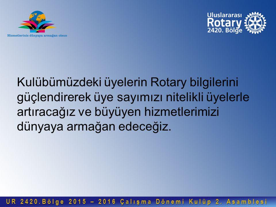 Kulübümüzdeki üyelerin Rotary bilgilerini güçlendirerek üye sayımızı nitelikli üyelerle artıracağız ve büyüyen hizmetlerimizi dünyaya armağan edeceğiz